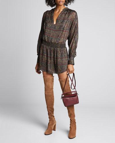 Paisley Long-Sleeve Party Dress
