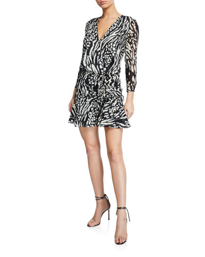 Kiran Ruched Long-Sleeve Flounce Dress