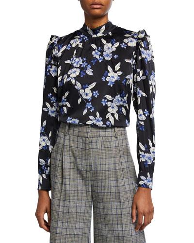 Carleton Floral-Print Ruffle Silk Top