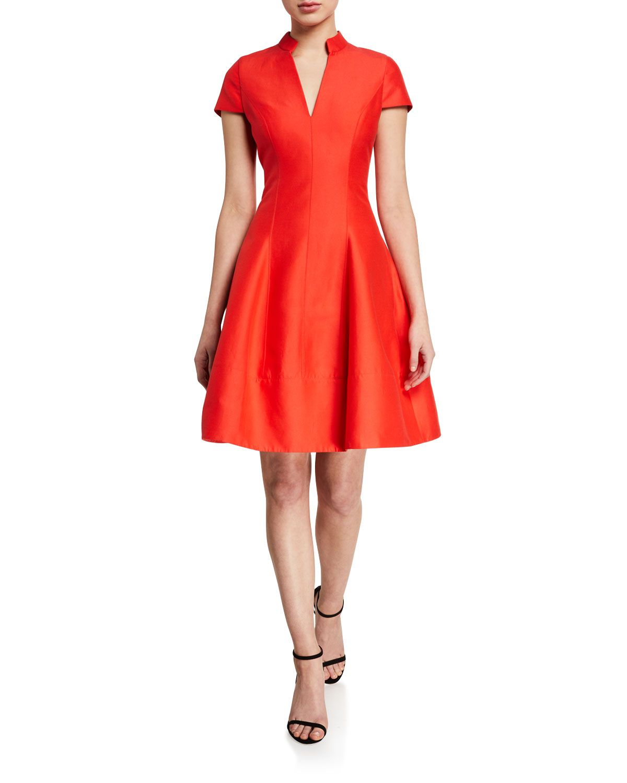 Halston Dresses V-NECK CAP-SLEEVE SILK FAILLE DRESS W/ MANDARIN COLLAR
