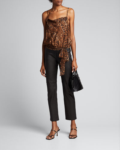 The Odette Animal Print Silk Camisole