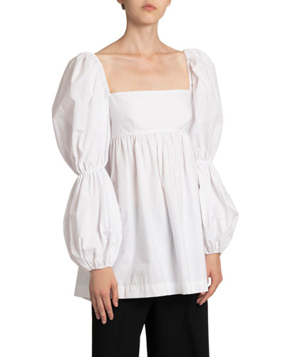 Kayla Square-Neck Puff-Sleeve Top