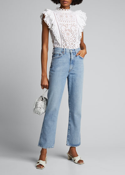 Pinched-Waist Cropped Straight Jeans