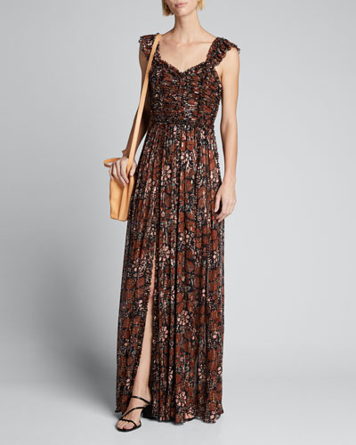 Evianna Printed Ruffle Gown w/ Slit