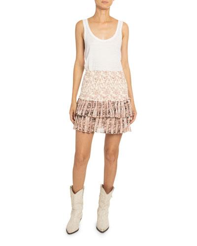 Naomi Patchwork Tiered Mini Skirt