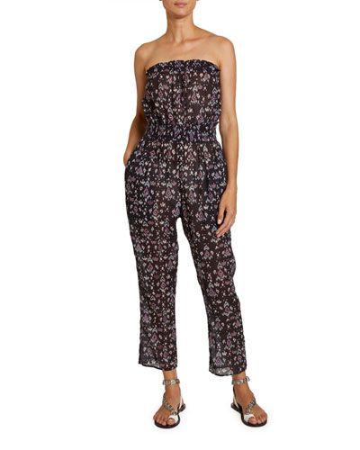 Timea Floral-Print Strapless Smocked Jumpsuit