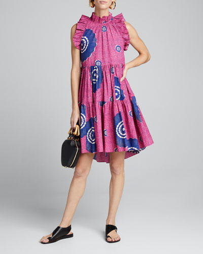 Tamsin Tiered Sleeveless Printed High-Low Dress