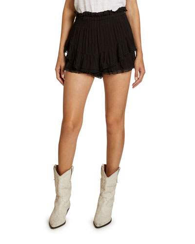 Janis Tiered Paperbag-Waist Shorts