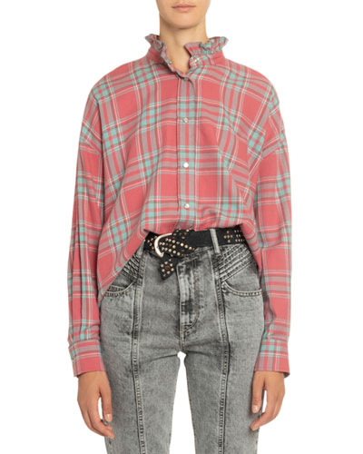 Ilaria Plaid Frilled-Collar Shirt