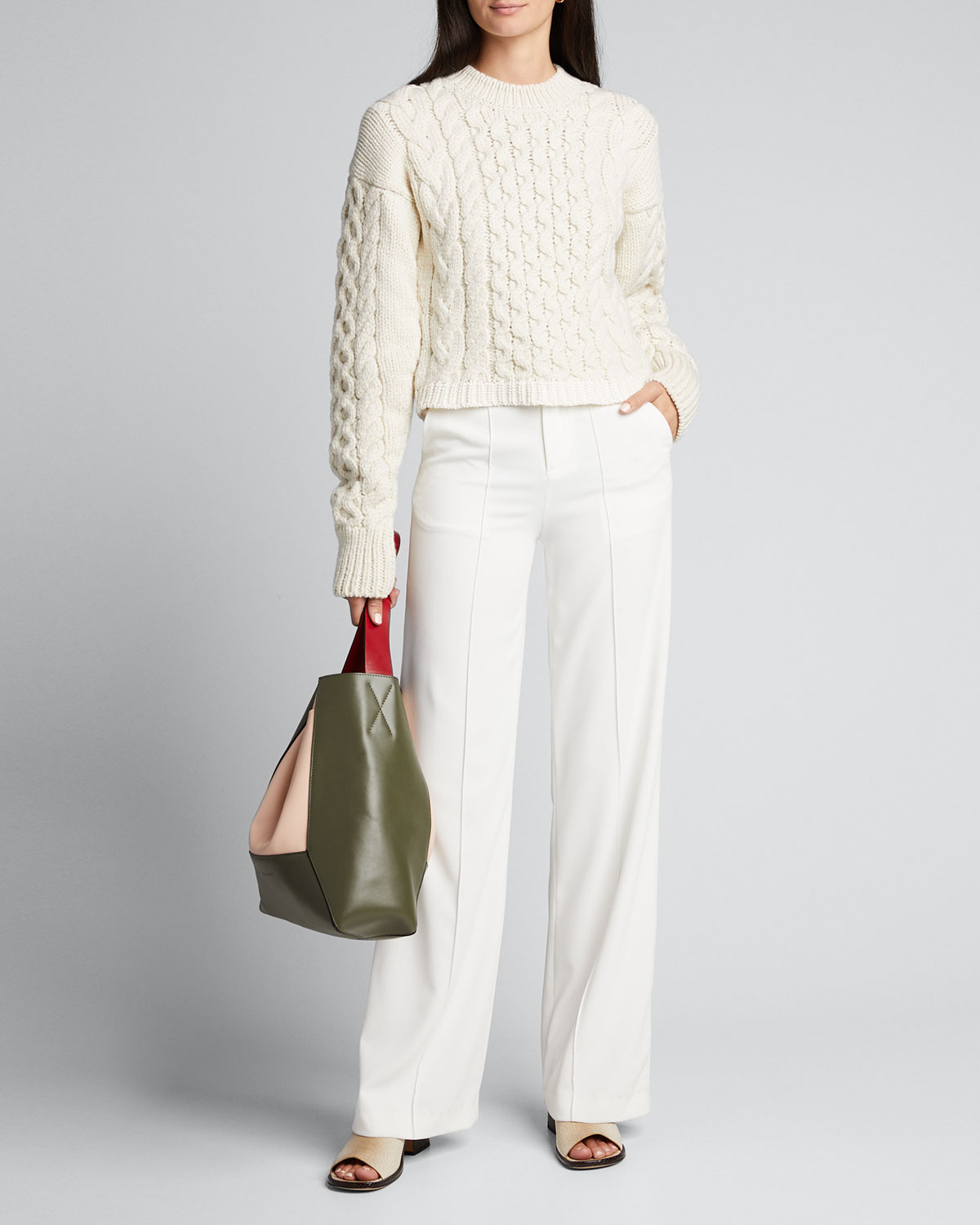 Joseph Cable Mix Wool Sweater In Ivory