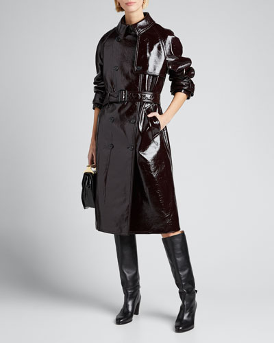 Coated Felt Trench Coat