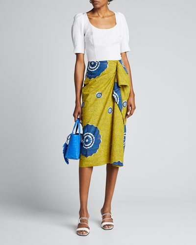 Ember Printed Draped Ruffle Skirt