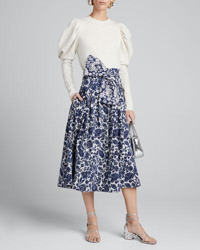 Virgil Printed Denim Pleated Skirt w/ Bow