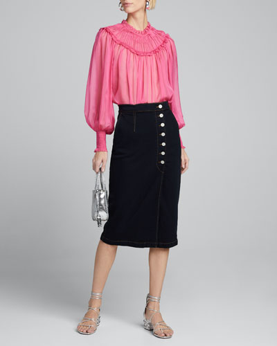 Arabella Yoked Blouson-Sleeve Silk Blouse