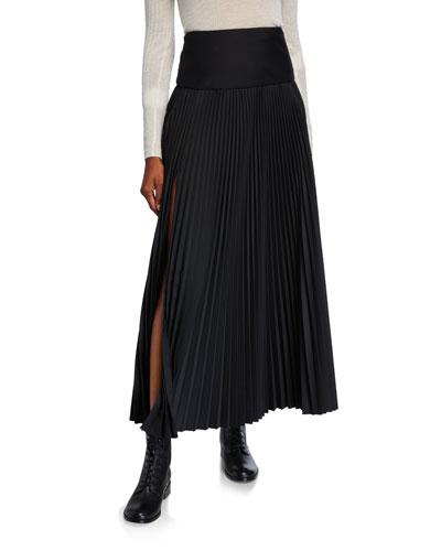 Bryanna Pleated Wool-Blend Skirt