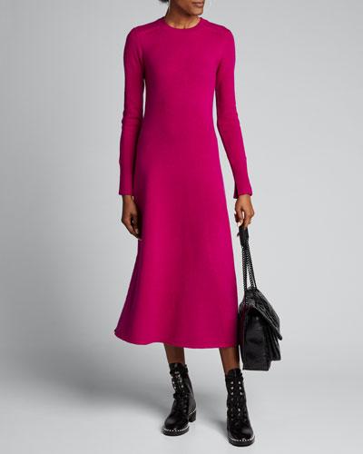 Lison Pure Cashmere Knit Long-Sleeve Midi Dress
