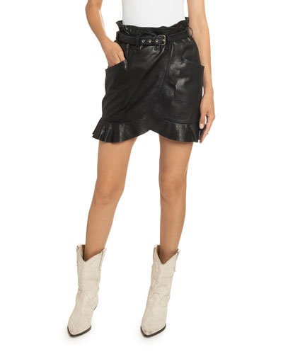 Qing Belted Ruffle-Leather Skirt