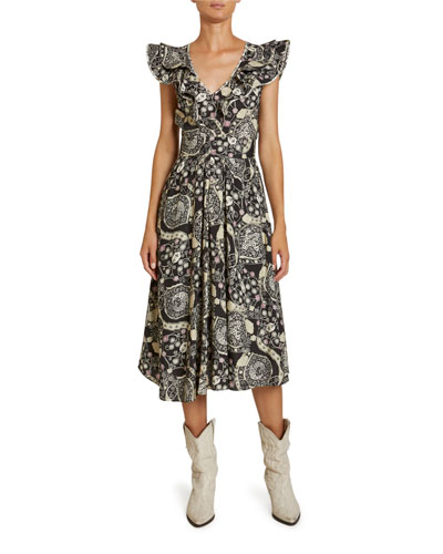 Coraline Abstract Paisley Print Crepe Flutter-Sleeve Dress
