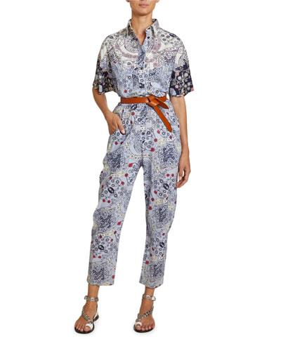 Udena Paisley-Print Cotton Utility Jumpsuit