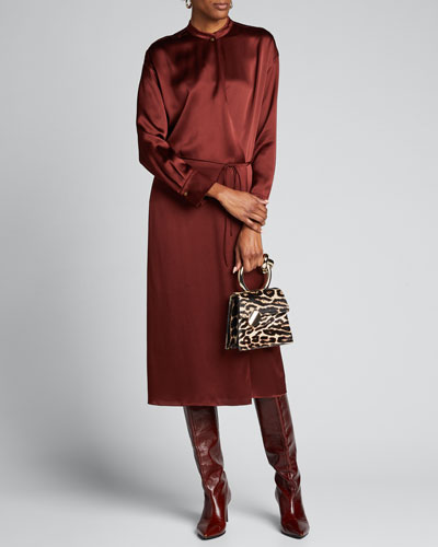 Silk Charmeuse Long-Sleeve Wrap Dress