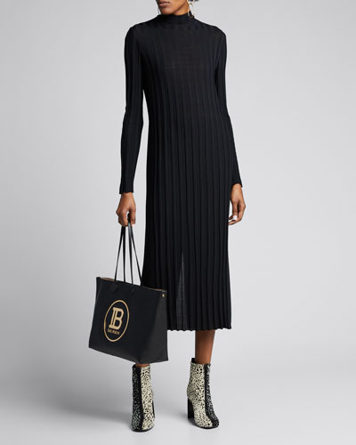 Mixed Rib Long-Sleeve Midi Turtleneck Dress
