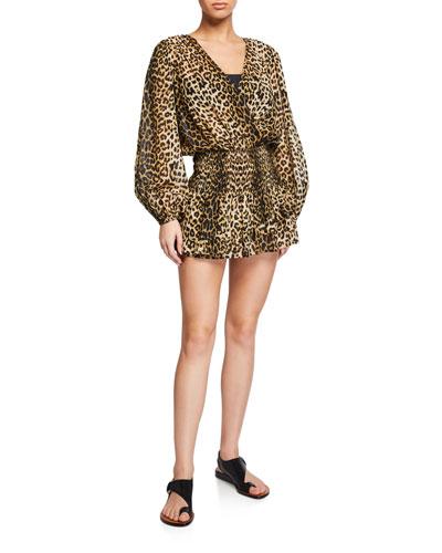 Kyance Smocked Leopard-Print Coverup Dress