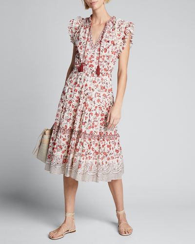 Prunella Printed Tie-Front Midi Dress