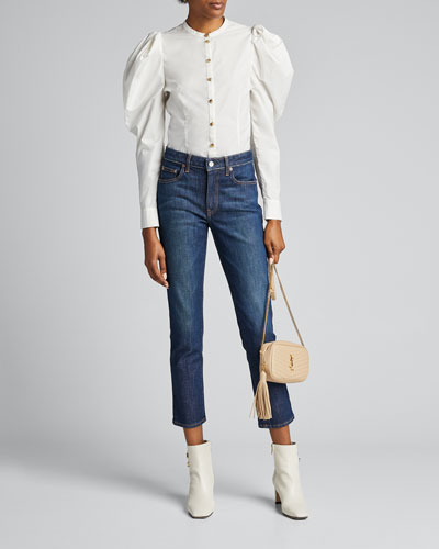 Willa Structured Puff-Sleeve Blouse