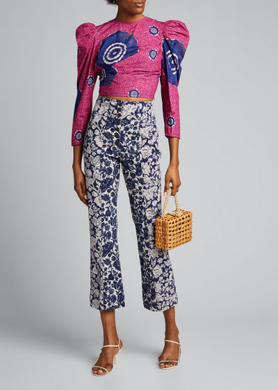 Eden Printed Puff-Sleeve Cropped Blouse