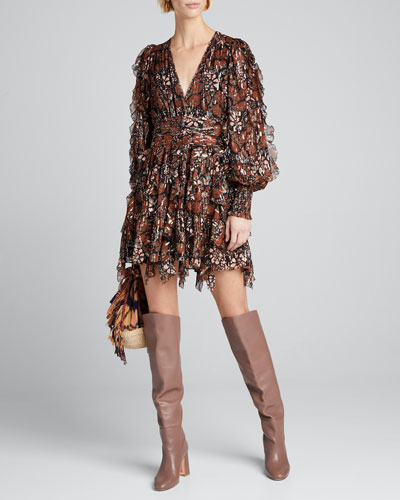 Natalia Printed Long-Sleeve Short Dress