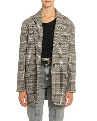 Ondine Plaid Single-Button Jacket