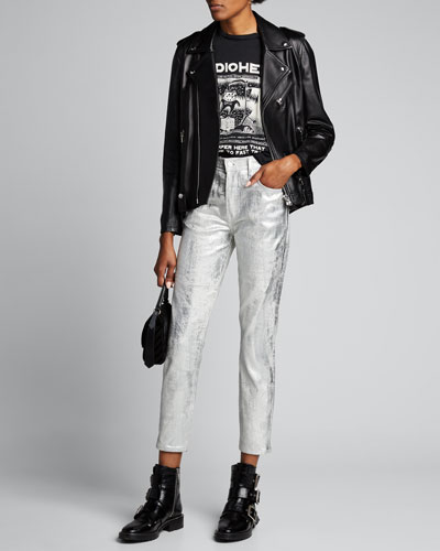 Karolina Coated Metallic Skinny Jeans