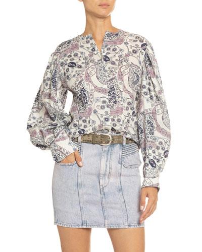 Unatil Printed Blouson-Sleeve Top