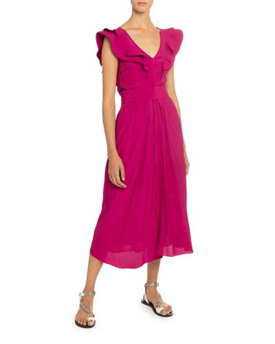 Coraline Sleeveless Ruffle Belted Dress