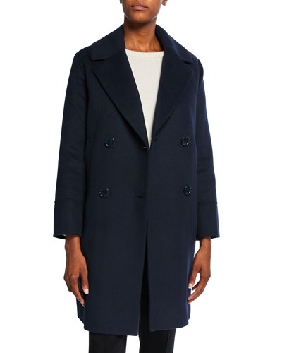 Cabanl Double-Breasted Wool-Blend Coat, Blue