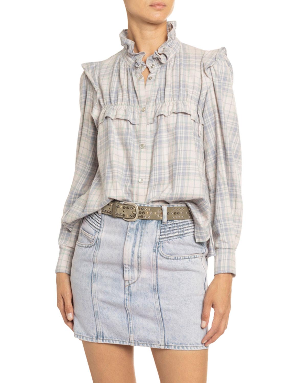 Etoile Isabel Marant T-shirts IDETY RUFFLE-TRIM CHECKED COTTON SHIRT