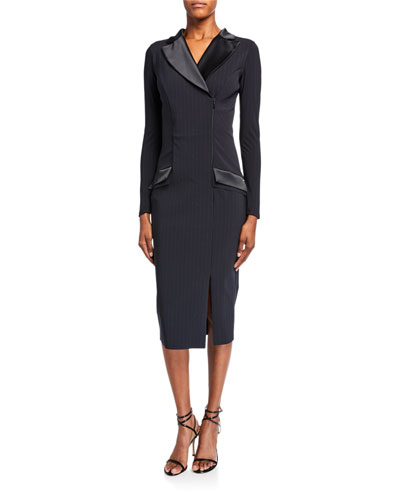 Pinstripe Tuxedo Sheath Dress