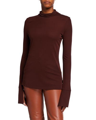 High-Neck Long-Sleeve Crepe Jersey Top