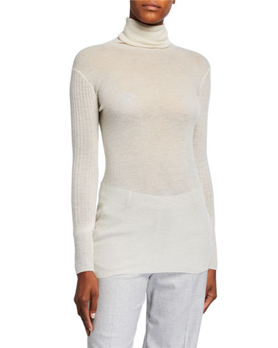Turtleneck Rib Cashmere Sweater