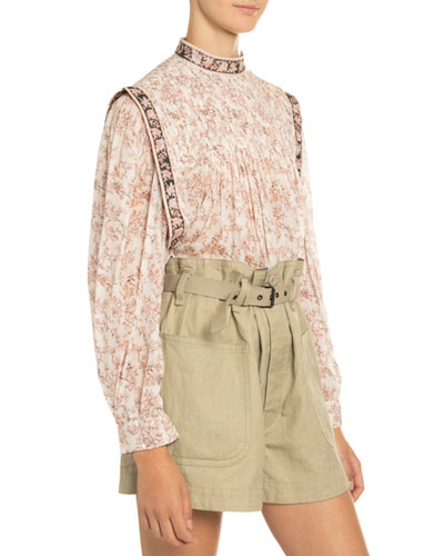 Vega Pleated Floral-Print Cotton Blouse