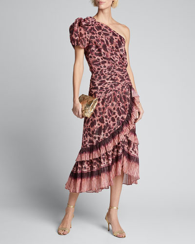 Anja Printed One-Shoulder Flounce Midi Dress