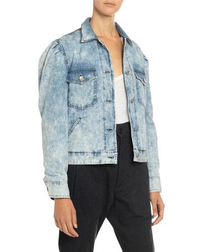 Iolinea Acid Wash Puff-Sleeve Denim Jacket