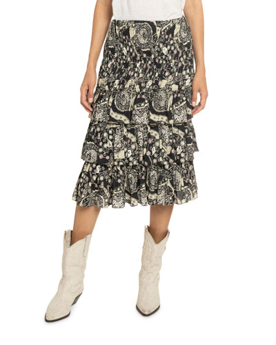 Cencia Floral Paisley Print Tiered Crepe Skirt