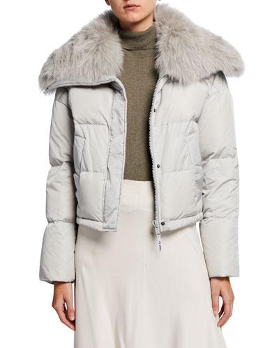 Detachable Fox Fur-Collar Cropped Puffer Coat