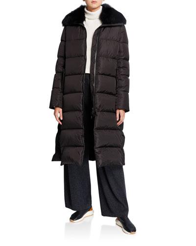 Long Side-Zip Puffer Coat w/ Fox Fur Trim