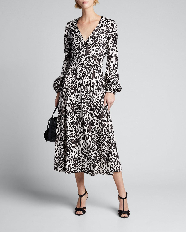Milly Dresses GINA LEOPARD PRINT JACQUARD MIDI DRESS