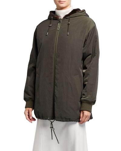 Reversible Mink Fur Hooded Jacket