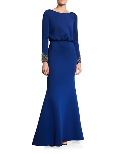 V-Back Long-Sleeve Beaded-Cuff Gown w/ Bow Detail
