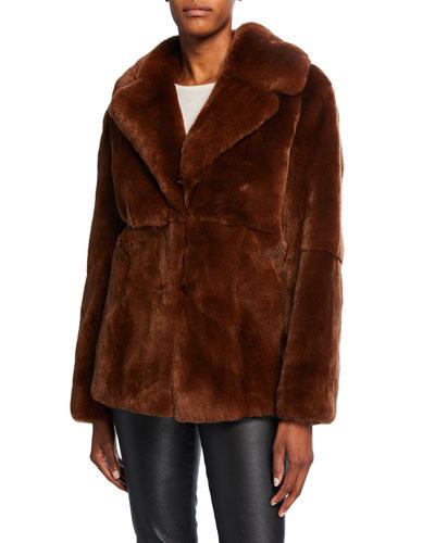 Notch-Collar Rabbit Fur Coat
