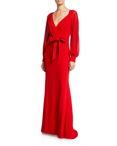 Long-Sleeve Mock-Wrap Crepe Gown